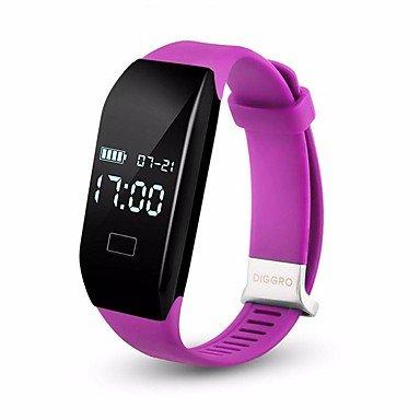 Lemumu 2017 Diggro H3 smart guarda la frequenza cardiaca braccialetto Bluetooth 4.0 Calorie contapassi dormire Monitor smart di braccialetti per IOS Android,viola