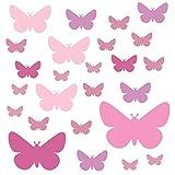 PREMYO 25 Mariposa Pegatinas Pared Infantil - Vinilos Decorativos Habitación Bebé Niña - Fácil de Poner Rosa Pastel