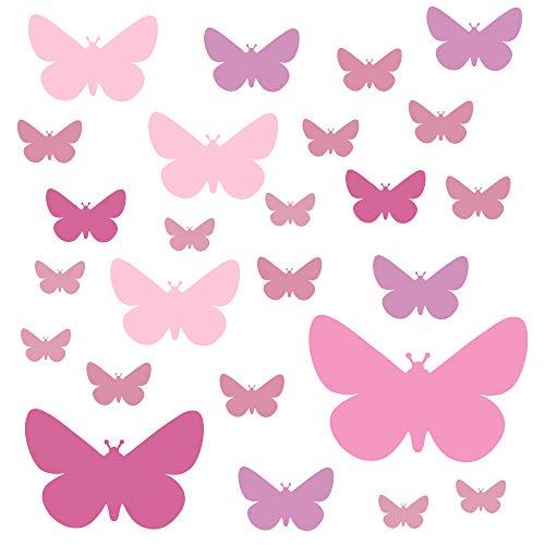 PREMYO 25 Schmetterlinge Wandsticker Kinderzimmer Mädchen - Wandtattoo - Wandaufkleber Selbstklebend Pastell Rosa