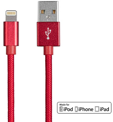 Monoprice Cabo de carregamento e sincronização Apple MFi certificado Lightning para USB – 1,8 m – Vermelho compatível com iPhone X, 8, 8 Plus, 7, 7 Plus, 6s, 6 SE 5s, iPad, Pro, Air 2 – Série Palette