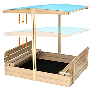 KINGSO Kids Sandbox with Cover Wooden Outdoor Sandbox with Canopy 2 Foldable Bench Seats Large Sandbox with Adjustable Height and Rotatable Canopy for Backyard Home Lawn Garden Beach