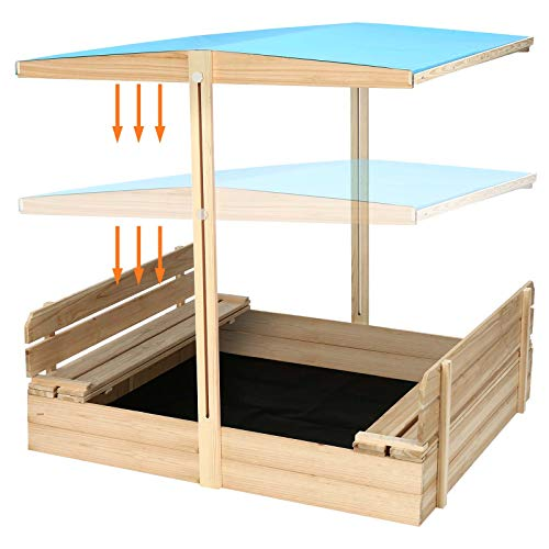 Sandbox with Cover Wooden Outdoor Kids Sandbox Toys with Canopy, 2 Foldable Bench Seats,Sandbox with Lid UV40 Sun Protection Function for Garden, Backyard, Beach, 48' x 48'
