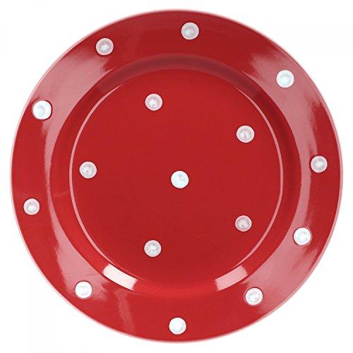 Van Well Emily Kuchenteller rot-weiß gepunktet, rund Ø 200 mm, Steingut Teller rund, Dessertteller