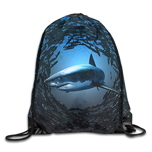 shenguang Shark And Fish Drawstring Sports Backpack Gym Yoga Sackpack String Bag Travel Storage Sack For Women And Men Suitable For School Swim Running Beach Outdoor