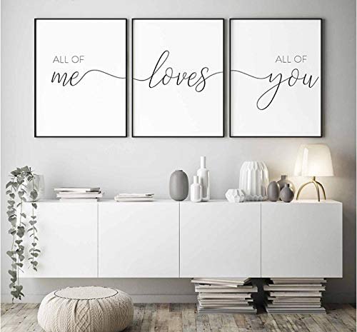 caomei Nordic Minimalist All of Me Loves All of You Posters Print Couple Canvas Painting Wall Pictures Bedroom Decor 40cmx60cmx3 no Frame