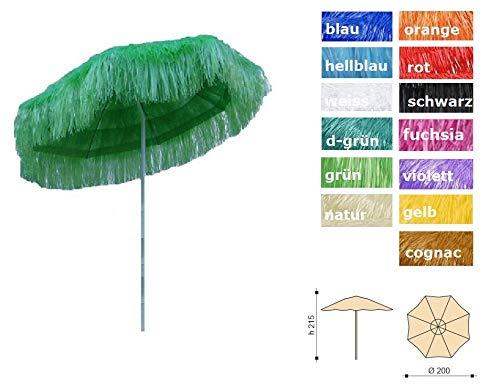 Jan Kurtz Hawaii Sonnenschirm, GRÜN, Raffiabast - Polyester, Metallgestell lackiert, mit Knickgelenk Ø 180/200cm, Partyschirm, Dekoschirm