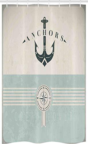 ABAKUHAUS Nautisch Schmaler Duschvorhang, Altmodisch Maritim Anker, Badezimmer Deko Set aus Stoff mit Haken, 120 x 180 cm, Seafoam Beige Reseda Grün
