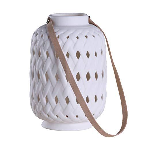 OSALADI LED Keramik Laterne Handheld tragbare Hohle Laterne Haus Dekoration für Home Indoor Outdoor (weiß)