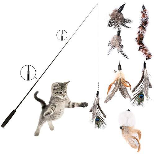 Anyasen Katzenspielzeug Feder Katzenangel Interaktives Katzenspielzeug Einziehbare mit 5 Stück Ersatz Katzenangel Feder Anhänger Glocken Katzenspielzeug für Katzen Kitten