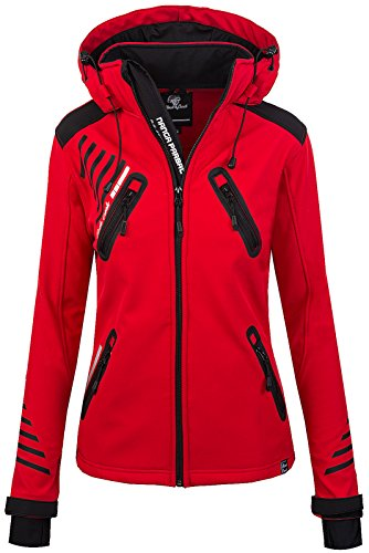 Rock Creek Damen Softshell Jacke Outdoorjacke Windbreaker Übergangs Jacke - Rot - 40/L