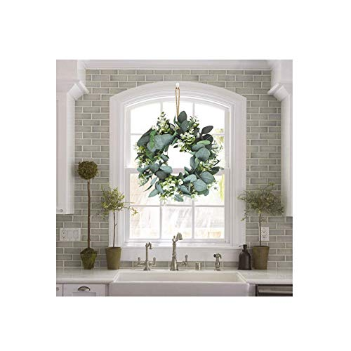 Guanghuansishe Easter Artificial Green Leaf Wreath Spring Summer Outdoor Ornaments for Front Door Wall Window Party Décor Ring Pastoral Wedding Bedroom Festival Decoration Wedding Festival Decoration