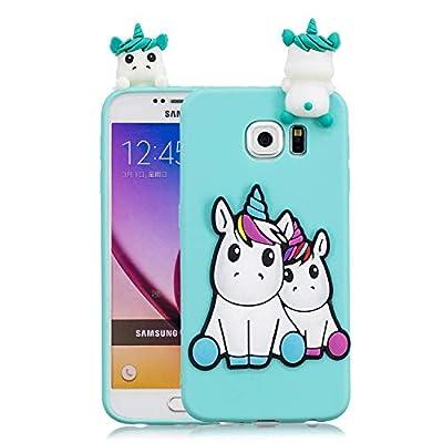 Funluna Funda Samsung Galaxy S6 Edge, 3D Unicornio Patrón Cover Ultra Delgado TPU Suave Carcasa Silicona Gel Anti-Rasguño Protectora Espalda Caso Bumper Case para Samsung Galaxy S6 Edge