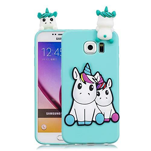 Funluna Cover Samsung Galaxy S6 Edge, 3D Unicorno Modello Ultra Sottile Morbido TPU Silicone Custodia Antiurto Protettiva Copertura Flessibile Gomma Gel Back Cover per Samsung Galaxy S6 Edge