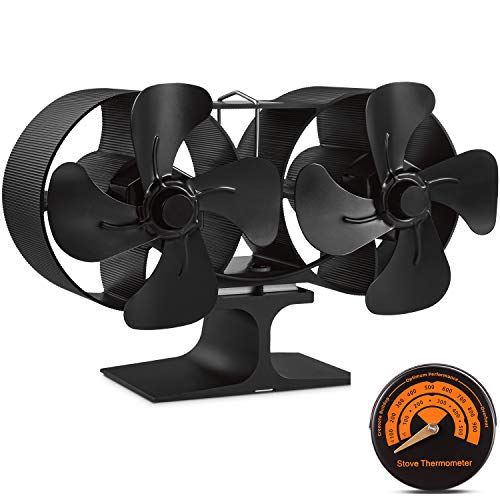Stove Fan, Slivek 8-Blades Twin Motor Double Heat Powered Fireplace Fan with Thermometer for Wood, Log Burner, Fireplace