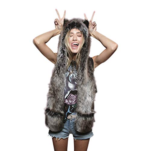 Animal Spirit Hood Faux Fur Hat with scarfs Full Pockets 3 in 1 Ear Flat Cap Hoodie Furry Gloves Party Costume (Gray Wolf)