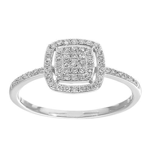 Naava Women's 18 ct White Gold 0.25ct Pave Set Diamond Square Ring - Size L