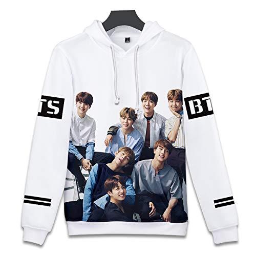 SIMYJOY Unisexe Korea Pop Fans Sweat à Capuche Imprimé 3D Love Yourself Tear Pull Cool Kpop Veste Impression Numérique Sweat-Shirt pour Homme Femme Adolescent Pull Q0823 L