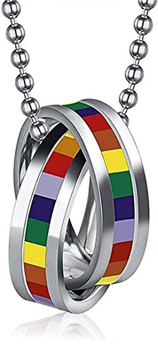 LBBYMX Co.,ltd Necklace Fashion Rainbow Stainless Steel Necklace Gay Pride Double Cross Rings Necklace and Pendant Gift for Men/Women for Women Men Boys Girls Gift