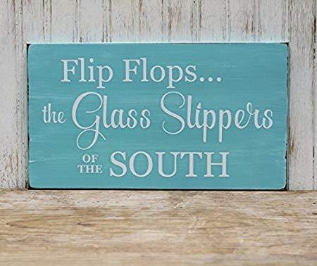Ced454sy Gift Flip Flops De Glazen Slippers van de South Beach Wood Signs Rustieke Grappige Home Decor Houten Wandplaat 8x12