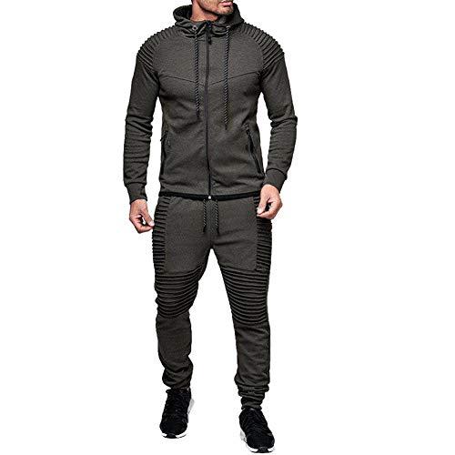 amropi Conjunto de Chándal para Hombre Chandal de Jogging Sudadera con Capucha y Pantalones XL,Gris