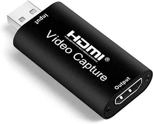 Tarjetas De Captura De Audio Y Video - HDMI A USB 2.0 1080p Grabación De Captura De Juegos A Través De DSLR, Videocámara Para Transmisión En Vivo De Juegos, Transmisión, Videoconferencia, Negro