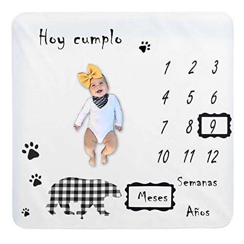 Bebé Manta Mensual Hito Franela Manta Mensual De Hito Para Bebé Manta Mensual De Bebé Para Fotos Regalos Personalizados Para Futuras Mamás para Bebé Recién Nacido (Oso 100 * 100cm)