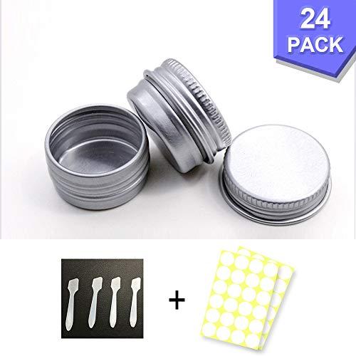 24 Stück Aluminium Leer Döschen, 5ml Set Aluminium Leer Döschen, Dosen mit Schraubdeckel, für lippenbalsam, Lotion, Creme, Mini-Kerzen, Kosmetik (Silber)