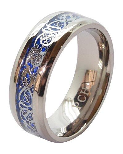 PCH Jewelers Men's Celtic Dragon Titanium Wedding Ring Blue Fiber Band 8MM Comfort Fit (8)
