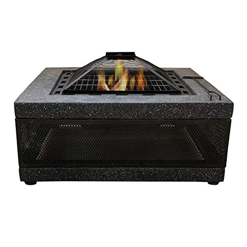 Purchase ZZX Square Outdoor Fire Pits, Garden Patio Brazier Burner Fireplace with BBQ Grill Shelf Ic...