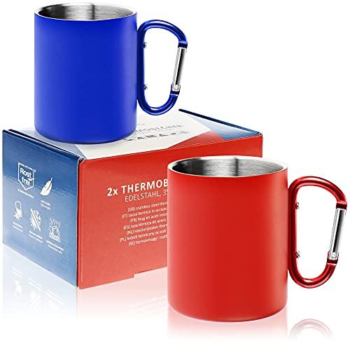 Robin Goods® 2X Taza térmica de Acero Inoxidable con asa de mosquetón - 350 ml por Taza de café - Taza térmica irrompible - Taza aislada de Doble Pared (Acero Inoxidable - Rojo/Azul - mosquetón)