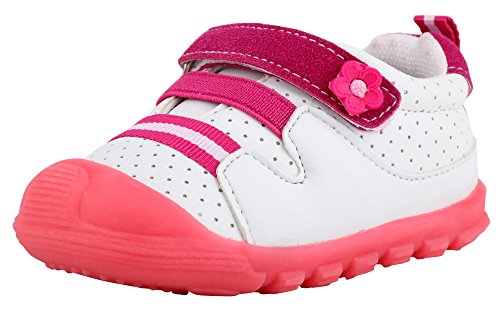 LONSOEN Baby Boys Girls First Walker Toddler Casual Sneaker Shoes Pink BAY002 CN18