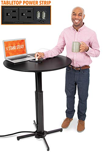 "Stand Steady Round Charging Table | Height Adjustable Café Table with Built-In AC Outlets & USB Charging | Fast Charging for Multiple Devices | Great for Office, School, Library & More (31.5"" / Black)"