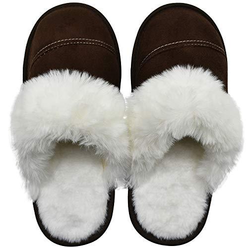 KuaiLu Sloffen Dames Pluche Wol Pantoffels voor Vrouwen Nep Schapenvacht Suède Huisschoenen Winter Warme Memory Foam Voetbed Huttenschoenen Antislip Licht Slippers