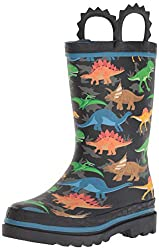 1. Western Chief Kid's Dinosaur Print Rain Boots with Easy On Handles