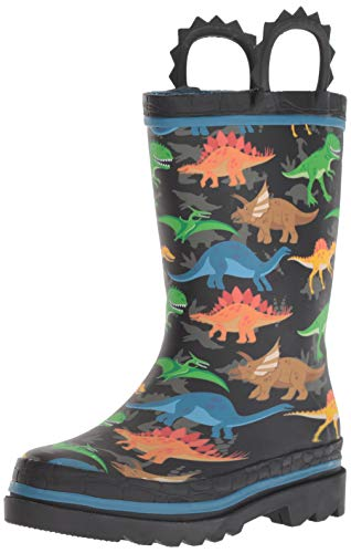 Western Chief Waterproof Printed Rain Boot with Easy Pull On Handles, Dino World, 12 M US Little Kid