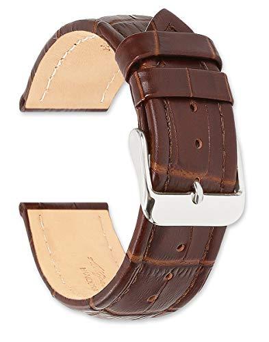 deBeer Replacement Leather Watch Band - Matte Alligator Grain Havana 19mm