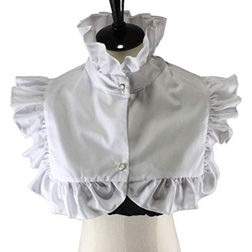 laimoere Retro Ruffle Mock Collar für Frauen, abnehmbares halbes Hemd mit Deka-Knopf