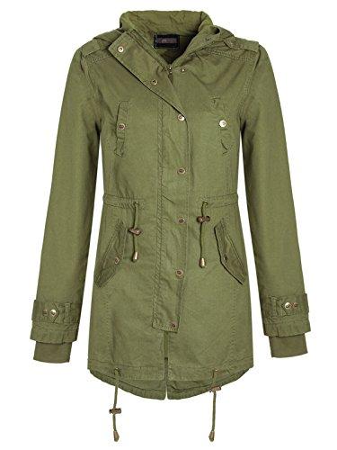 Envy Boutique Damen Damen Mit Kapuze Parka Mit Schwalbenschwanz Jacke Vintage Militär Mantel - Damen, Khaki, 10