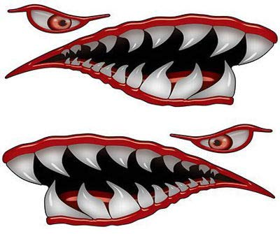 Weston Ink Flying Tigers Shark Teeth 8' Red Reflective Decals