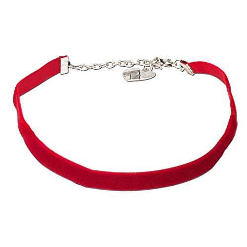 Alpenflüstern Trachten-Samt-Kropfband elastisch - Trachtenkette enganliegend, Velvet Kropfkette, Damen-Trachtenschmuck, Samtkropfband schmal rot DHK076