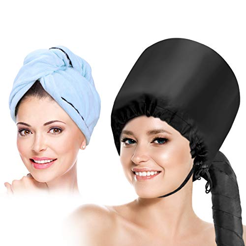 Bonnet Hood Hair Dryer Attachment- Hooded Hair Dryer Cap Hand Held Soft Adjustable for Drying Curly Styling Deep Conditioning+ Hair Dry Towel