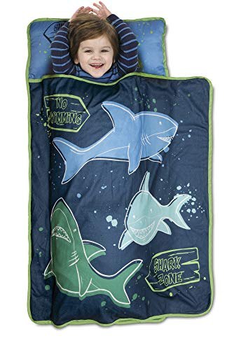Baby Boom Funhouse Shark Zone Kids Nap Mat Set – Includes Pillow and Fleece Blanket – Great for Girls Napping During Daycare, Preschool, or Kindergarten - Fits Toddlers and Young Children, Blue