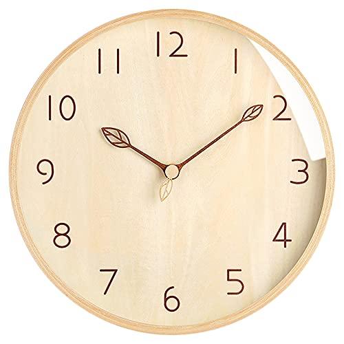 Qucover Orologio da parete Orologio da parete in legno massello da 12 pollici, stile moderno e semplice, movimento silenzioso, adatto per soggiorno, camera da letto, cucina, cameretta