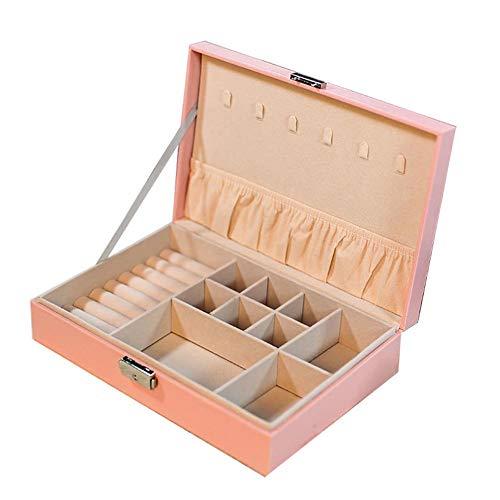 Groust Cajas de joyería con cerradura multifuncionales pulseras pendientes anillos collar de una sola capa caja de almacenamiento de joyería regalo para su familia y amigos