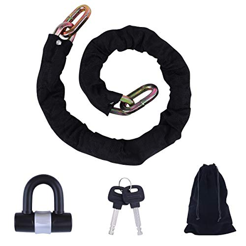 Heavy Duty Chain Lock with Small U-Lock,Motorcycle,Valuable Objects,Large Machinery.