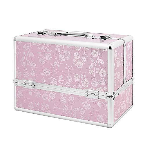 AMASAVA Beauty Case da Viaggio,Cofanetto Trucco,valigia Trucco , Caso Cosmetici, 36 x 21.5 x 25.5 cm, in alluminio ABS, con Serratura,4 vassoi, Rosa