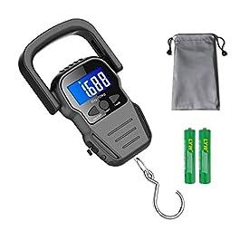 Balance de pêche étanche avec règle, pèse-bagages, pèse-personne, écran LCD rétroéclairé (110 lb / 50 kg) (Nicht…