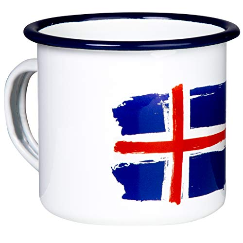 Island Emaille Tasse mit Flagge, leicht & bruchsicher, für Camping & Outdoor Fans - von MUGSY.de