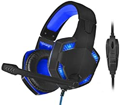 X-Shooter Gaming USB Headset w/Mic - Supports Xbox, PS4 & Switch - Blue