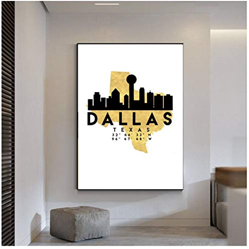 Dallas Texas Silhouette City Skyline Map Canvas Poster Art Print Wall Pictures for Living room bedroom decoration-60x80cm Sin marco